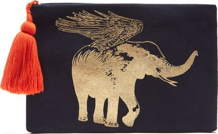 FIGUE Flying Elephant-print cotton pouch