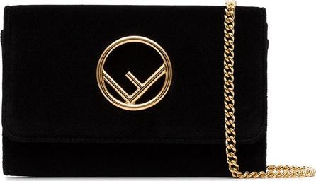 Fendi Black logo velvet wallet on chain