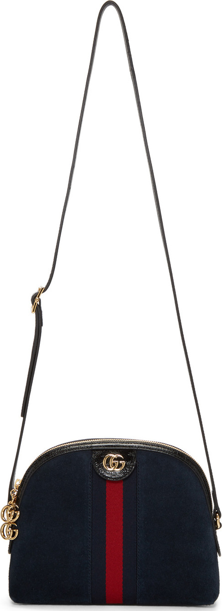 Gucci Navy Suede Small Ophidia Bag