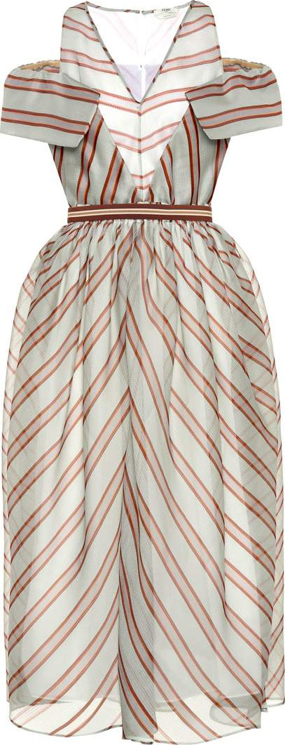 Fendi Striped silk midi dress