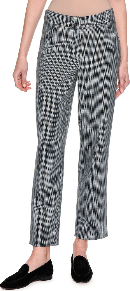 Giorgio Armani Cropped Herringbone Straight-Leg Pants, Gray
