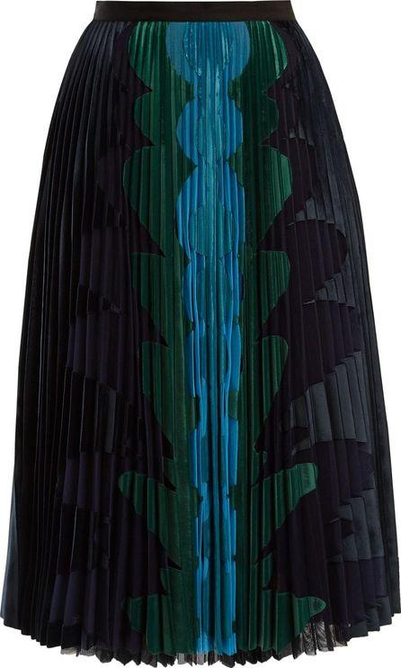 Mary Katrantzou Suzette graphic-appliqué pleated-tulle midi skirt