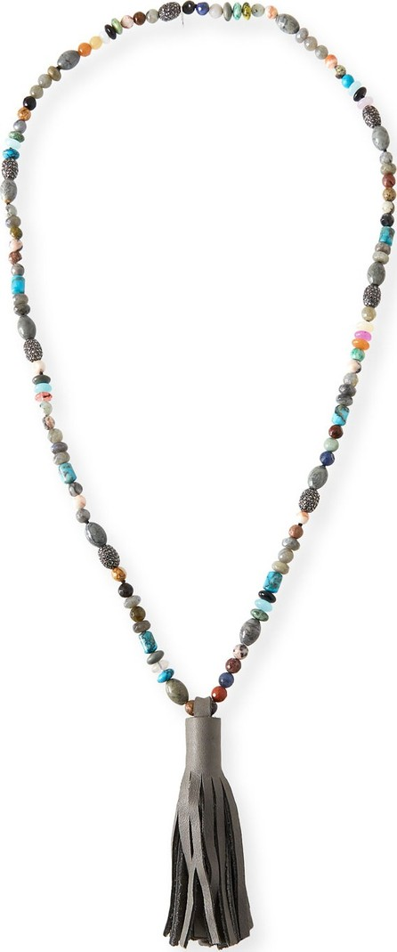 Hipchik Couture St. Tropez Beaded Leather Tassel Necklace
