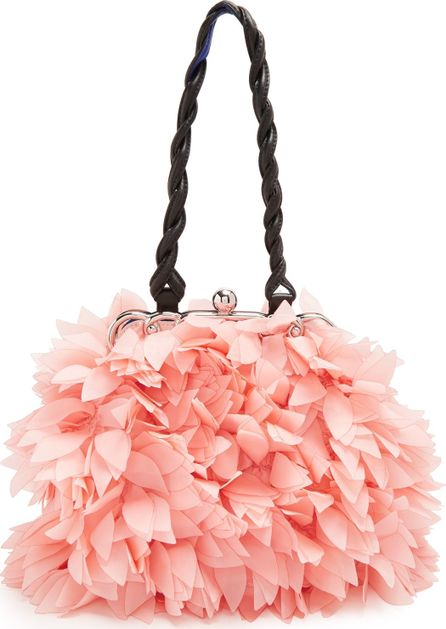 Floral mini organza-appliqué embellished bag