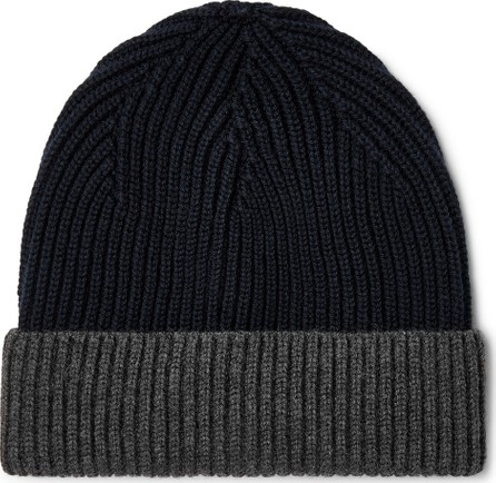 Altea Colour-Block Ribbed Virgin Wool Beanie