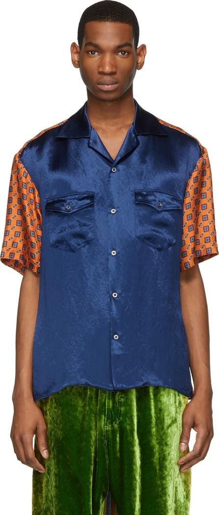 Gucci Blue & Orange Silk Bowling Shirt
