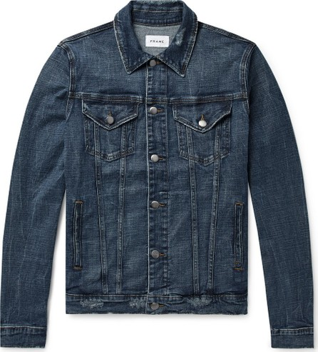 FRAME DENIM L'Homme Distressed Stretch-Denim Jacket