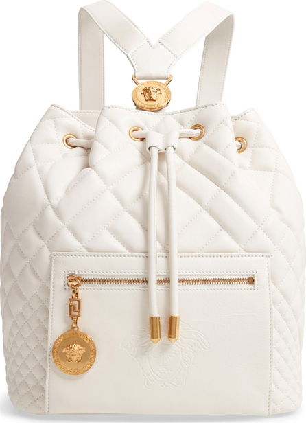 Versace Quilted Leather Drawstring Backpack