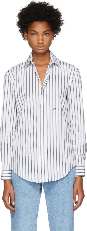 Off White Black & White Striped Basic Shirt