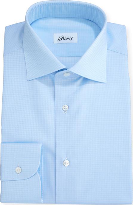 Brioni Tonal Houndstooth Dress Shirt, Blue