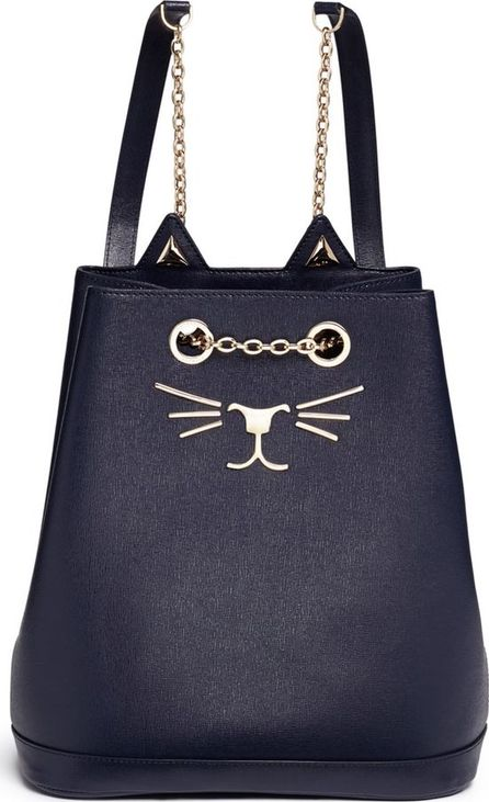 Charlotte Olympia 'Feline' cat face calfskin leather backpack