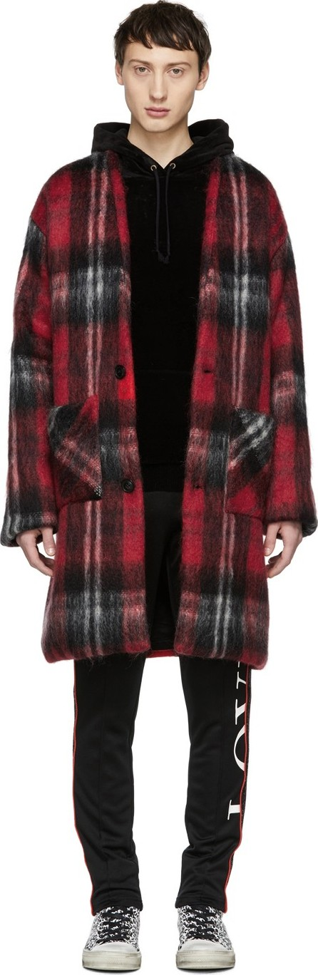 Amiri Red Mohair Cardigan Coat