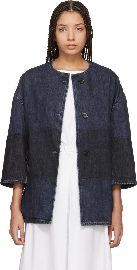 Blue Collarless Denim Jacket