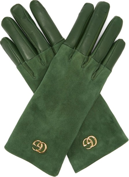 Gucci GG-plaque suede and leather gloves