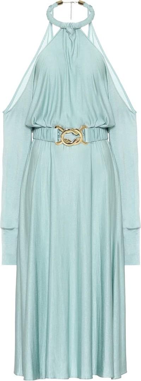 DODO BAR OR Belted crêpe-satin halterneck dress
