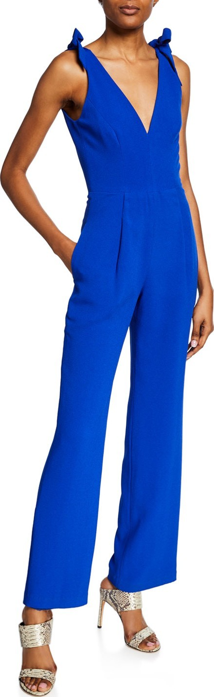 Dress the Population Maira V-Neck Sleeveless Jumpsuit with Bow Shoulder Detail