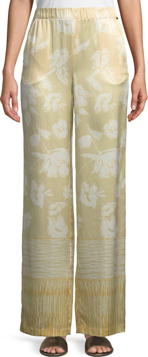 St. John - Outlined Painted Floral Hammered Silk Pants