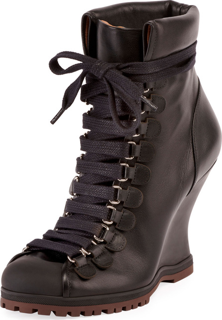 Chloe Leather Lace-Up Wedge Hiker Bootie
