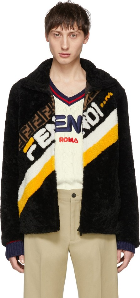 Fendi Black Shearling 'Fendi Mania' Jacket
