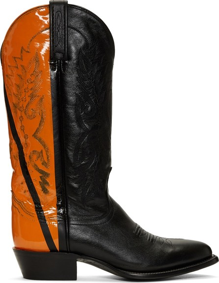 Helmut Lang Black & Orange Sarah Morris Edition Cowboy Boots