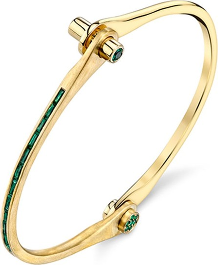 Borgioni Baguette Emerald Handcuff Bracelet in 18K Yellow Gold