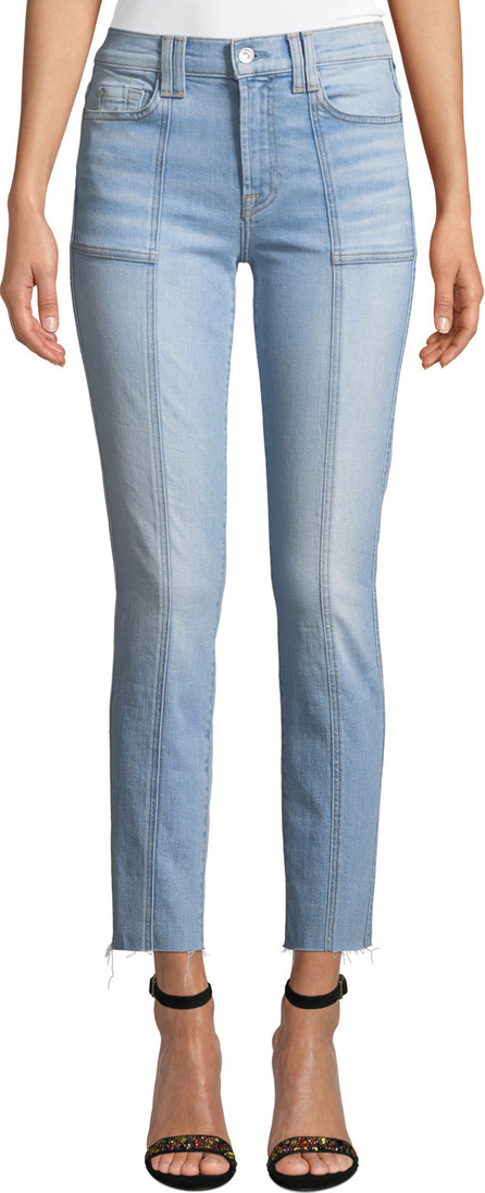 7 For All Mankind Roxanne Straight-Leg Seam Patch-Pocket Ankle Jeans