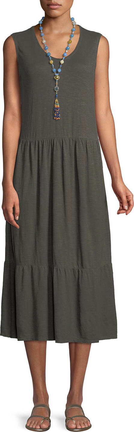 Eileen Fisher Hemp-Cotton Tiered Midi Dress