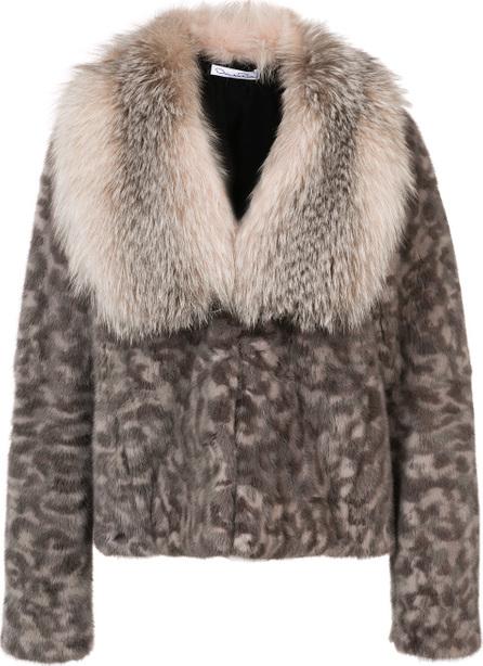 Oscar De La Renta Camouflage print fur  jacket