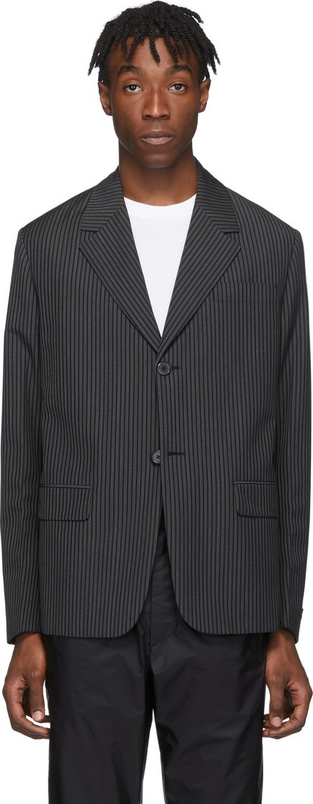 Prada Grey & Black Mohair Striped Single-Breasted Blazer