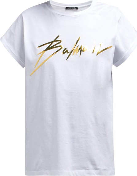 Balmain Foil-logo cotton T-shirt