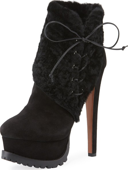 Alaïa Side-Lace Lamb-Fur Platform Booties