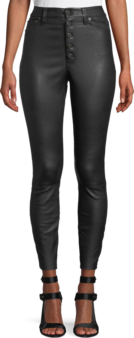 Alice + Olivia Mikah High-Rise Button-Front Leather Skinny Pants