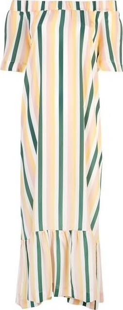 Asceno Off-the-Shoulder Striped Dress