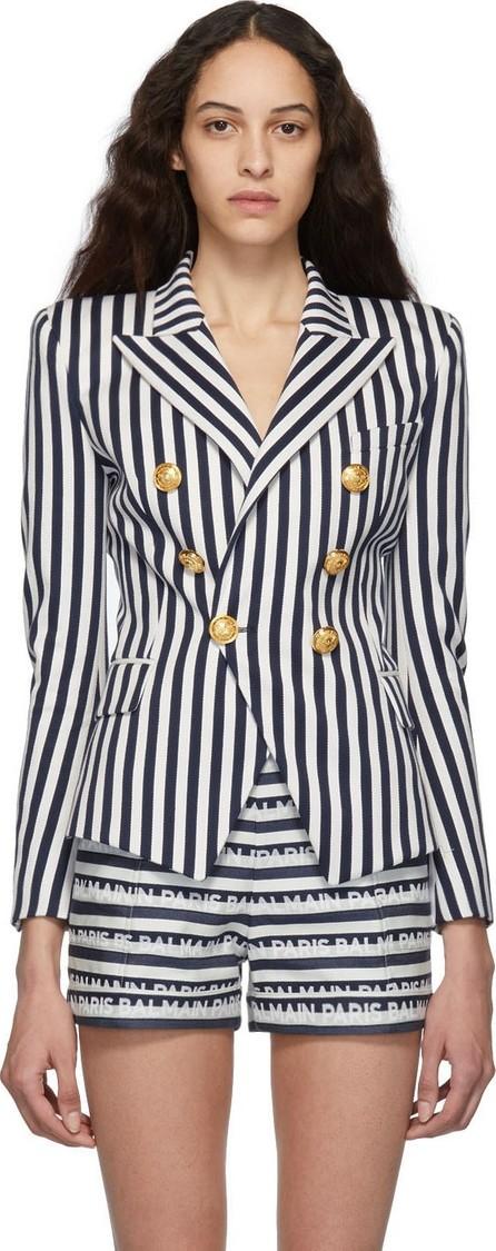 Balmain Blue & White Striped Double-Breasted Blazer