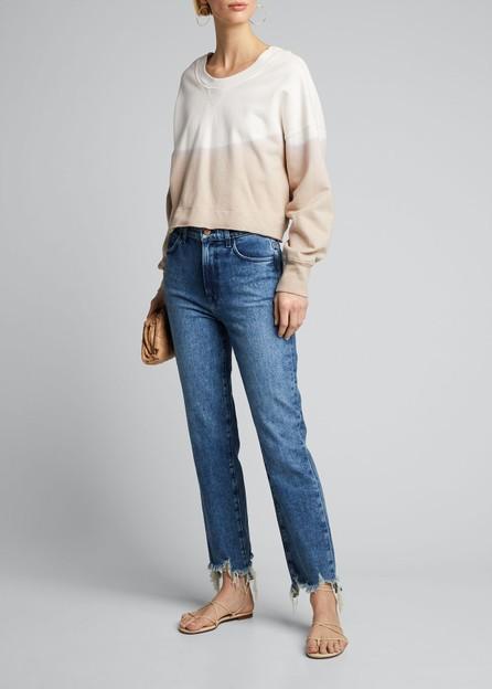 J BRAND Jules High-Rise Straight Jeans w/ Shredded Hem