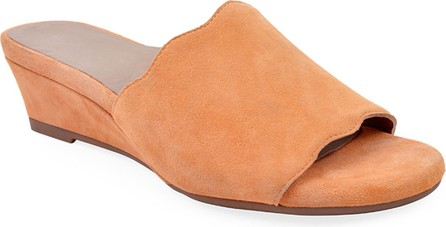 Bettye Muller Seema Suede Demi-Wedge Slide Sandals, Chili