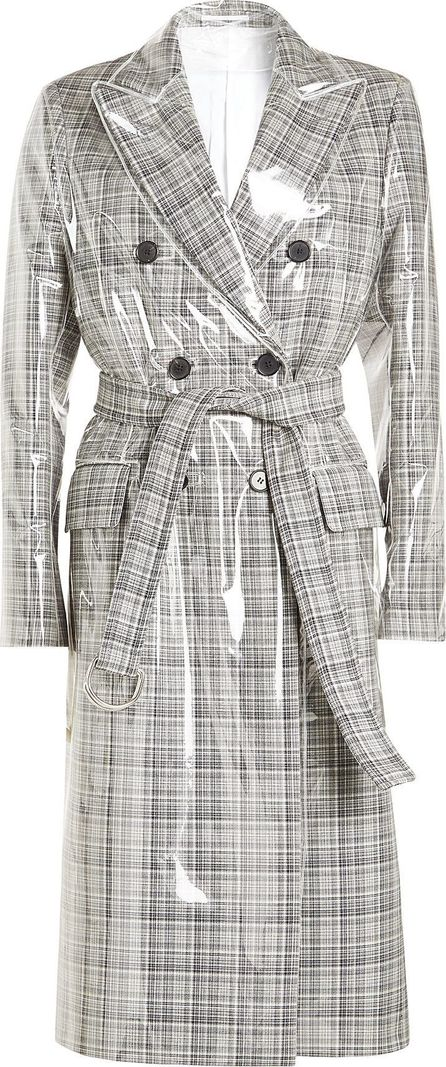 Calvin Klein 205W39NYC Virgin Wool Trench Coat with Transparent Overlay