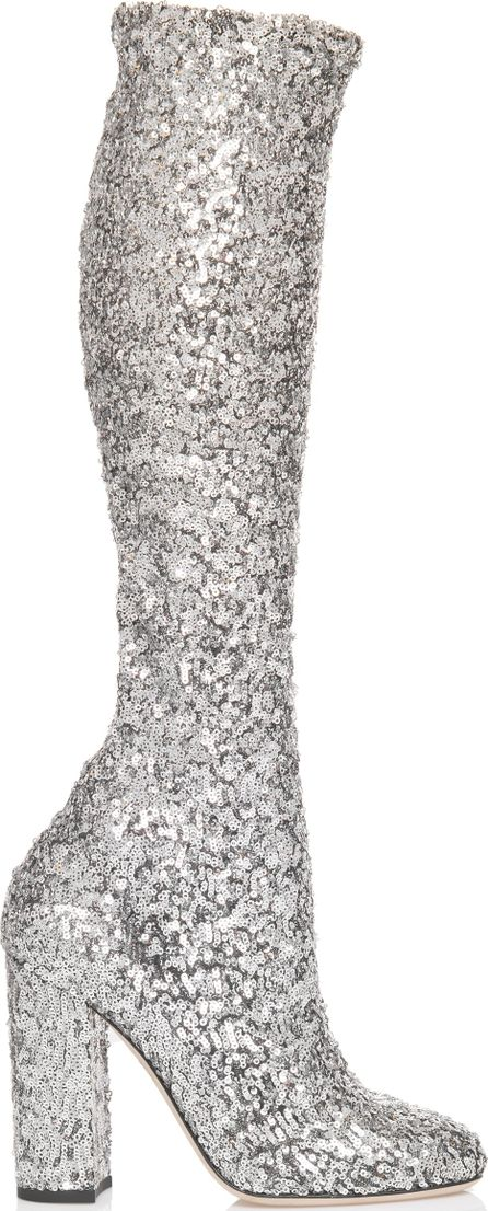 Dolce & Gabbana Silver Sequin Boot
