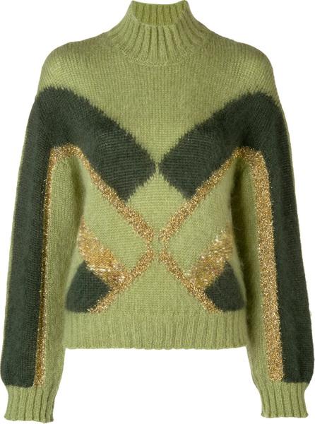Alberta Ferretti Embellished two-tone sweater