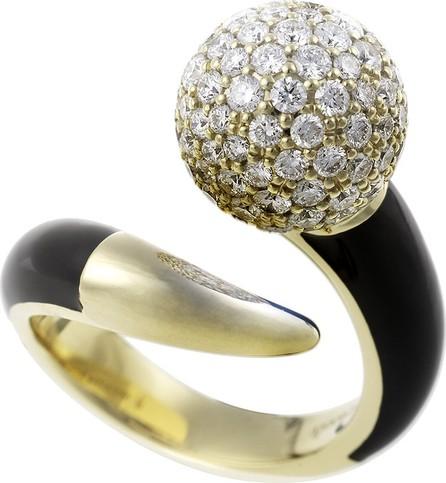 Nikos Koulis Lingerie 18k Gold Diamond & Black Enamel Ring, Size 6.75
