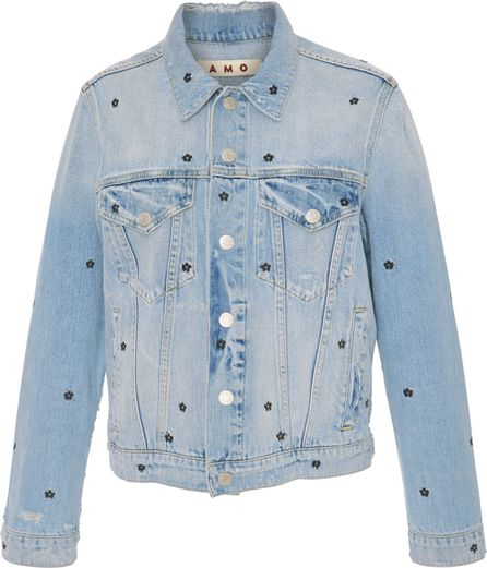 AMO Floral Embroidered Denim Jacket