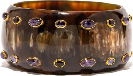 Ashley Pittman Mixed-Horn & Amethyst Bangle Bracelet