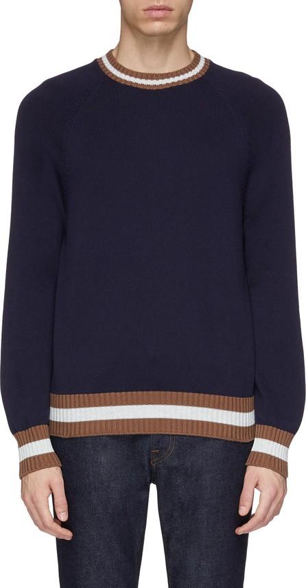 Brunello Cucinelli Stripe border cotton raglan sweater