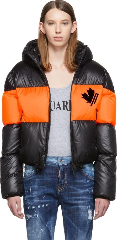 DSQUARED2 Black & Orange Down Contrast Band Jacket