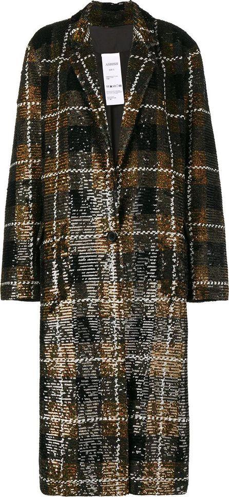 ASHISH Sequin plaid oversized coat