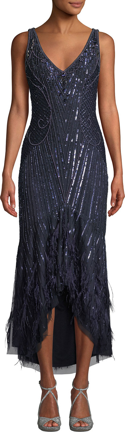 Parker Sydney Beaded High-Low Gown Dress w/ Feather Hem