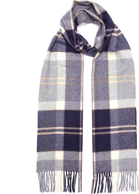 Johnstons of Elgin Tartan plaid fringed cashmere scarf