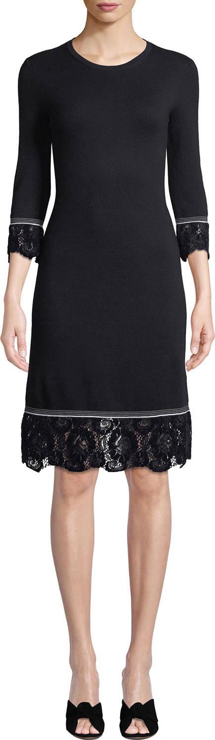 Tory Burch Coralie Lace-Trim Knit Dress