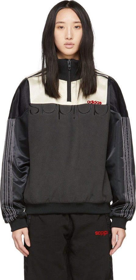 Adidas Originals by Alexander Wang Black & Off-White Disjoin Half-Zip Sweater