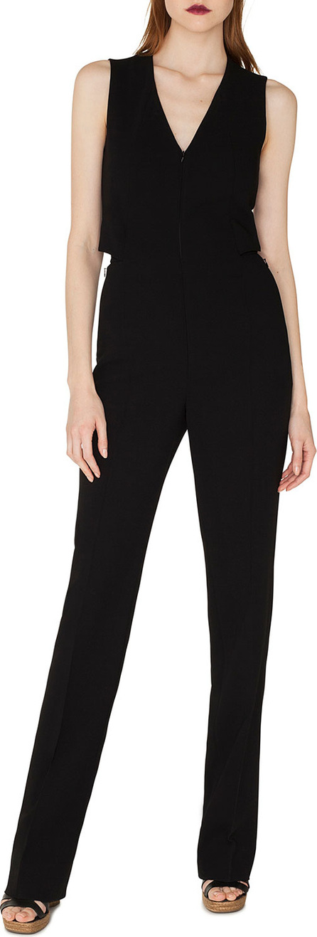 Akris Sleeveless V-Neck Front-Zip Straight-Leg Jumpsuit